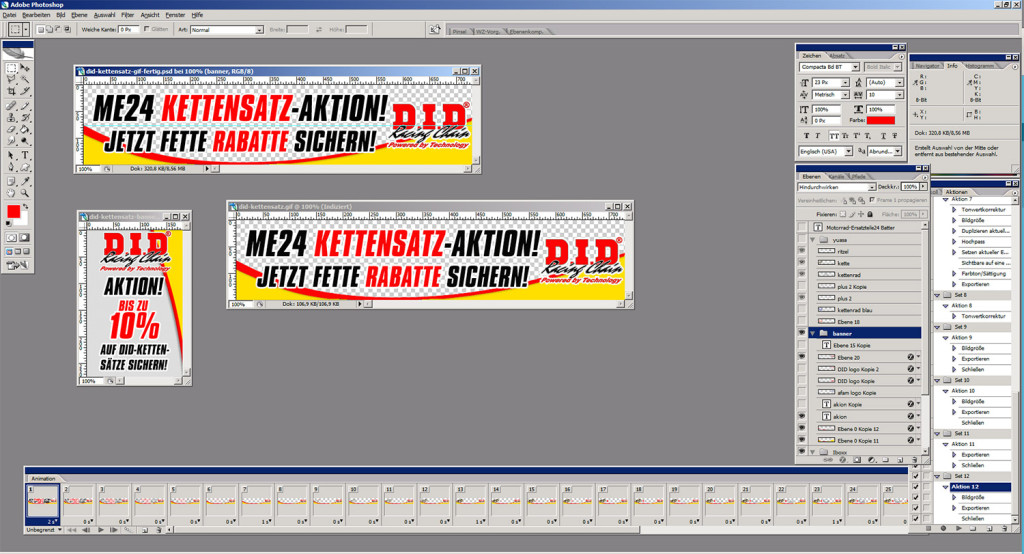 Die verschiedenen Banner für die DID Kettensatzaktion bei Motorrad-Ersatzteile24.de