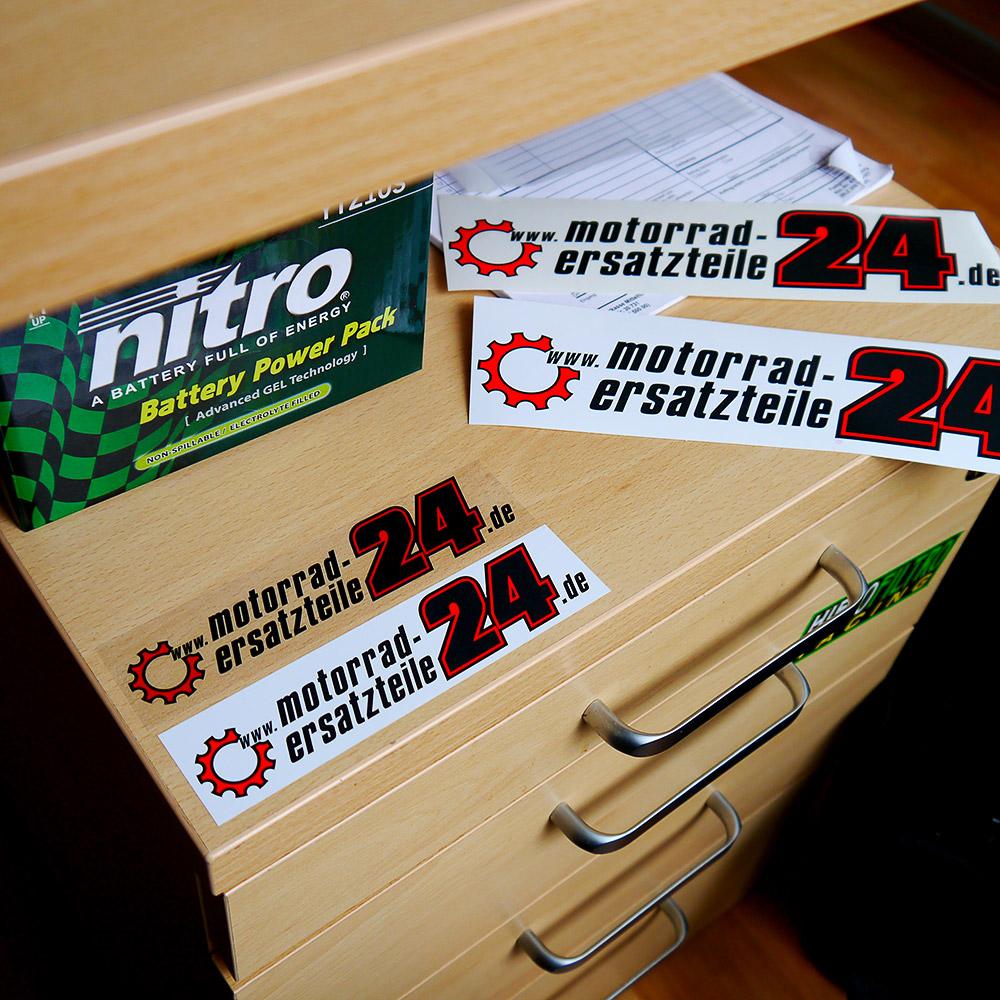 Endlich auch als Aufkleber - unser neues Motorrad-Ersatzteile24 Logo