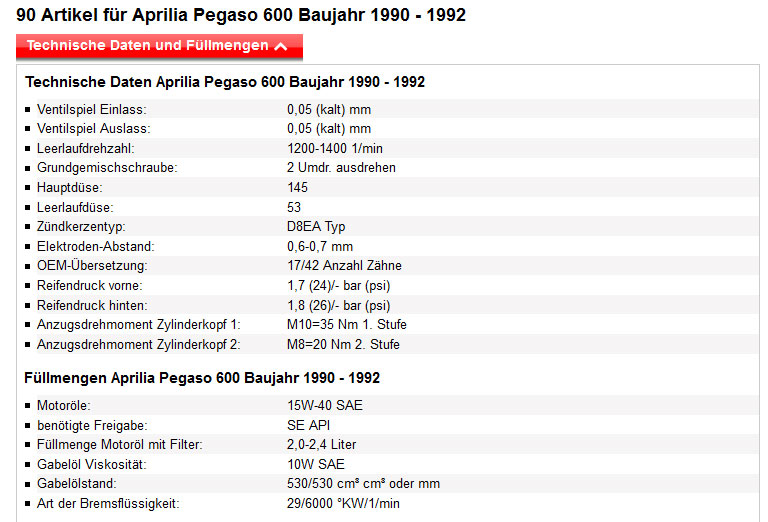 So sieht es aus - alle technischen Daten auf einen Blick, hier zum Beispiel für die Aprilia Pegaso